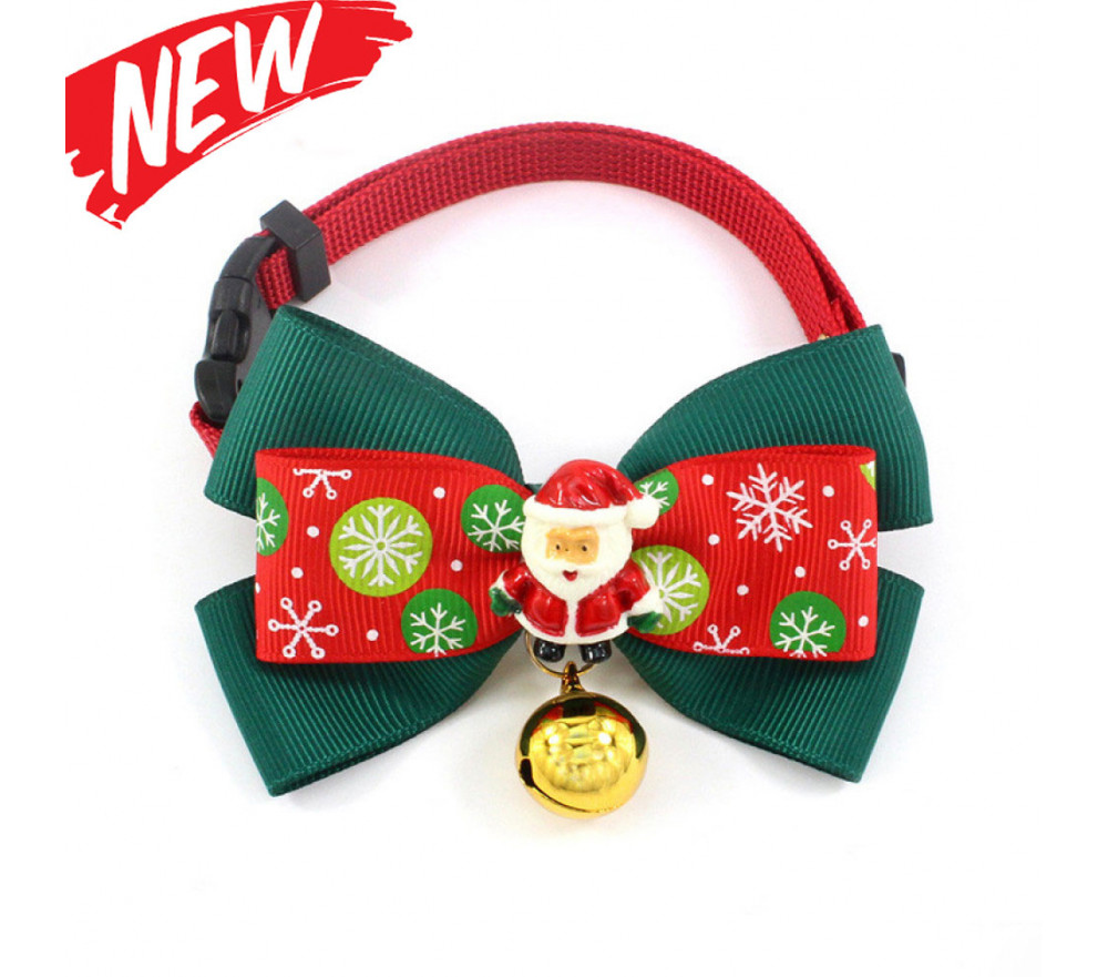 Christmas Cat Collar with Bells Santa Bowknot Necklace