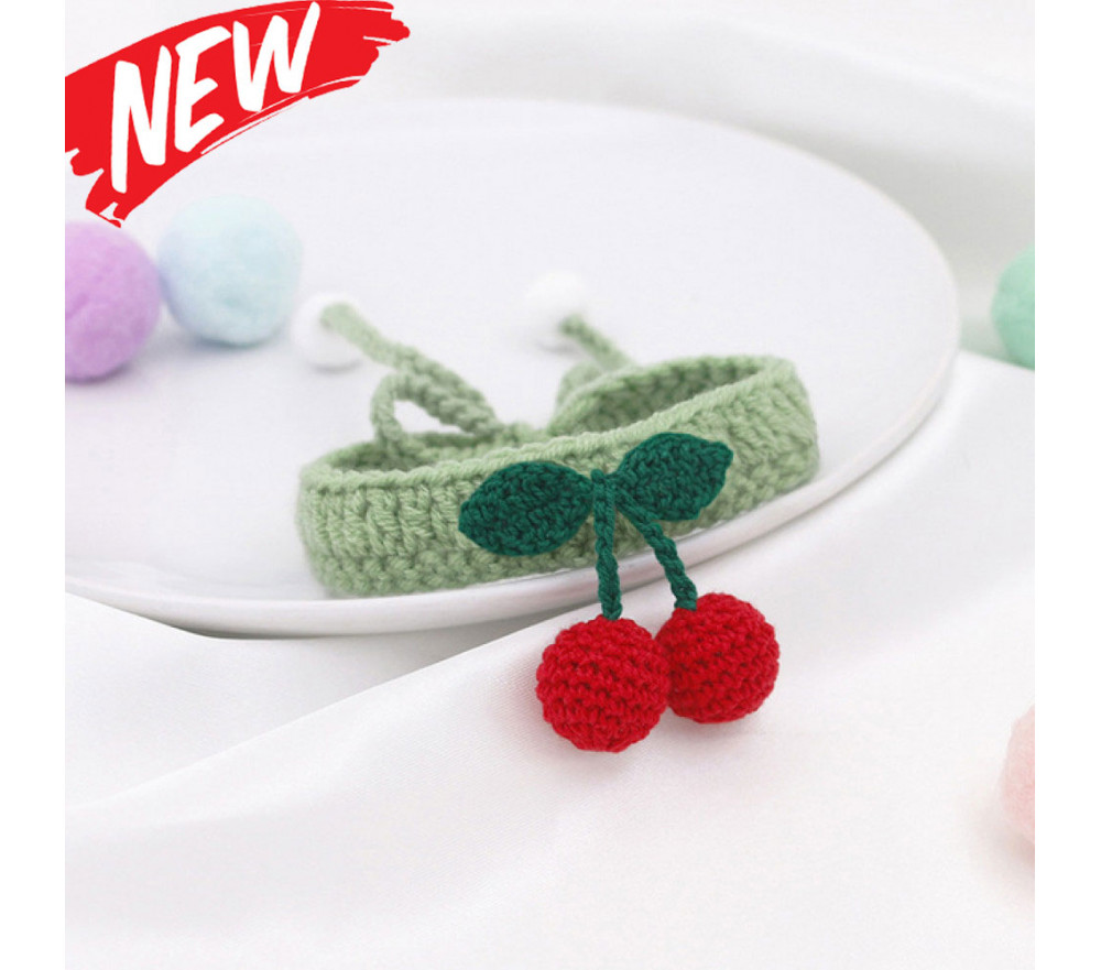 Handmade Cherry Crochet Cat/Dog Collar