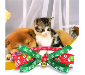 Christmas Series Pet Collar New Bells Bow Tie