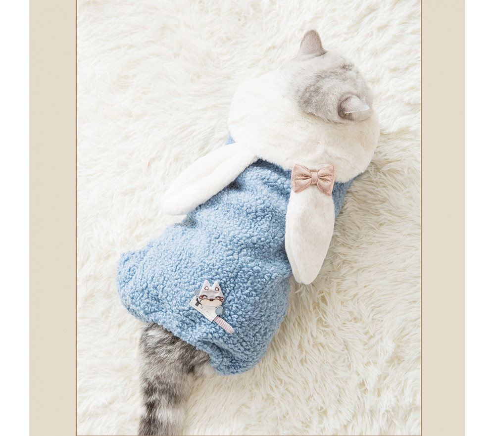 Lovely Rabbit Ears Thick Plush Coat For Autumn and Winter