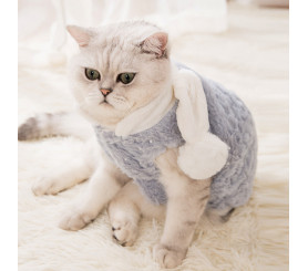 Flannel Rabbit Ear Cat Coat Thick Autumn and Winter Clothing