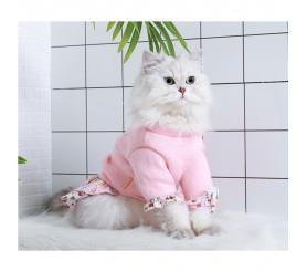 Floral Princess Skirt Two-legged Cat Clothes Autumn Winter Wear
