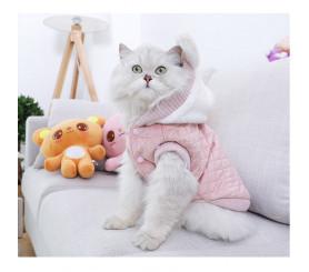 Plush Hooded Cat Coat Autumn Winter Two-legged Clothes
