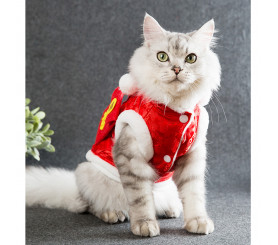 Red Packet Tang costume Cat Two-legged Winter Fleece Coat