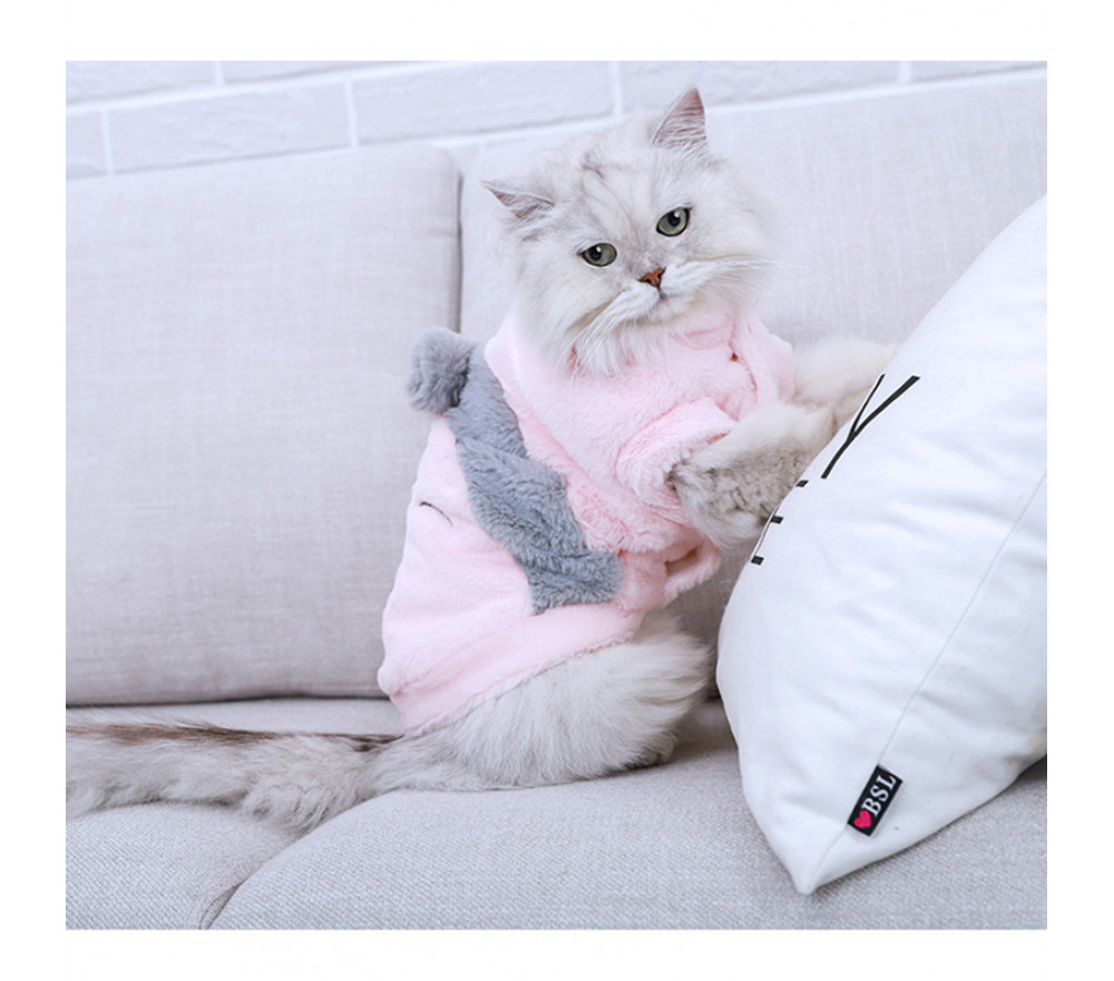 Smiley Bow Cat Coat Winter Warm Cat Clothes