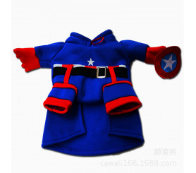 Superhero Captain Cosplay Two-legged Costume Pet Clothing
