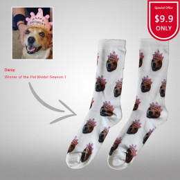 Custom Dog Socks Photo Personalized Pet Face Picture Printed Cotton Socks