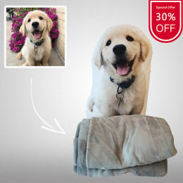 Personalized Dog/Cat Photo Shaped Pillows With Blanket