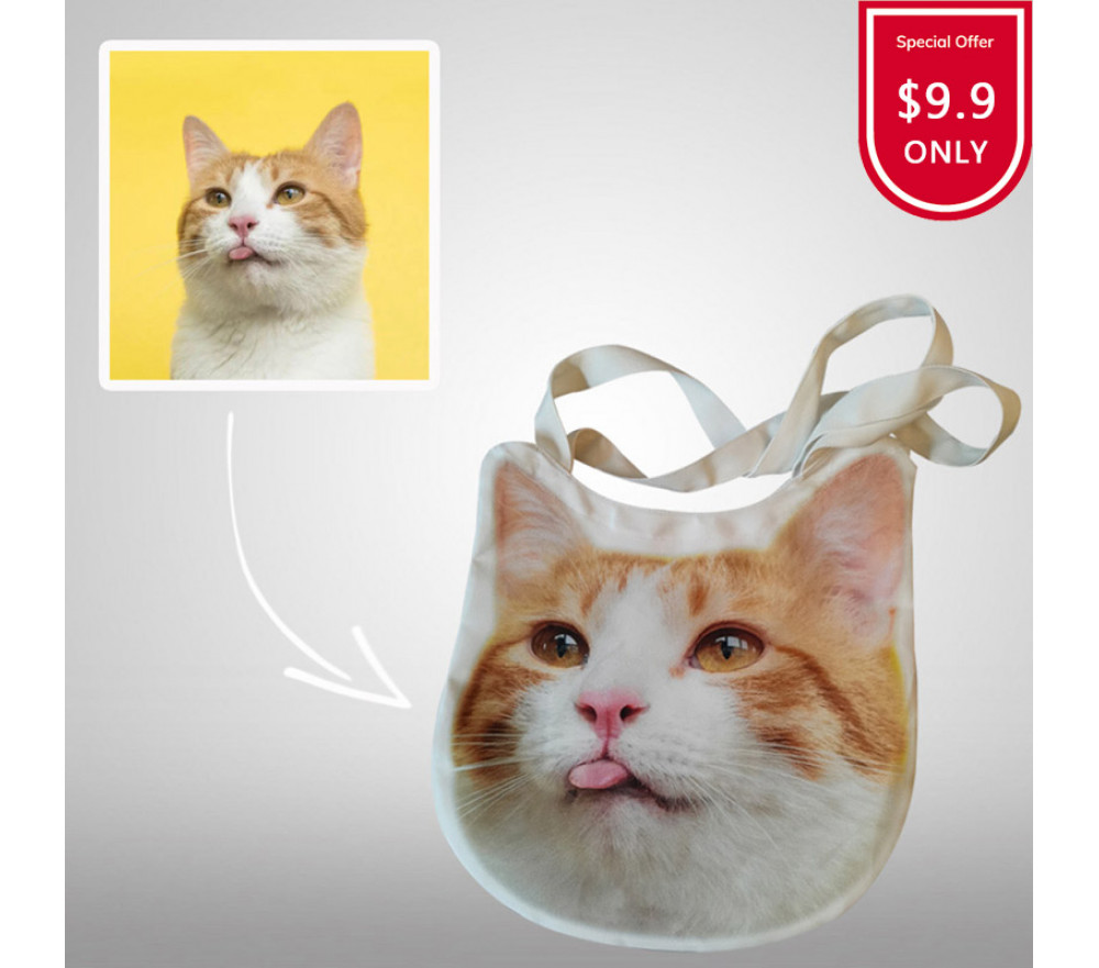 Cat Dog Photo Personalized Tote Bags Custom Printed Canvas Bag