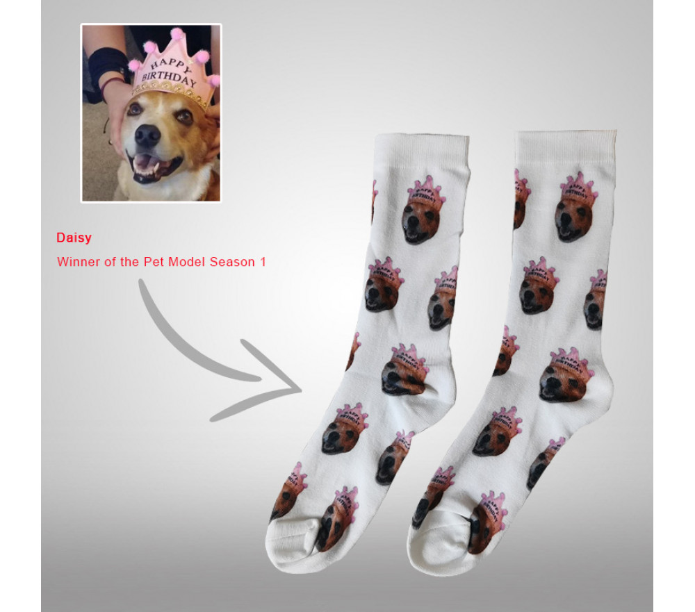 Custom Socks Photo Personalized Pet Face Picture Printed Cotton Socks