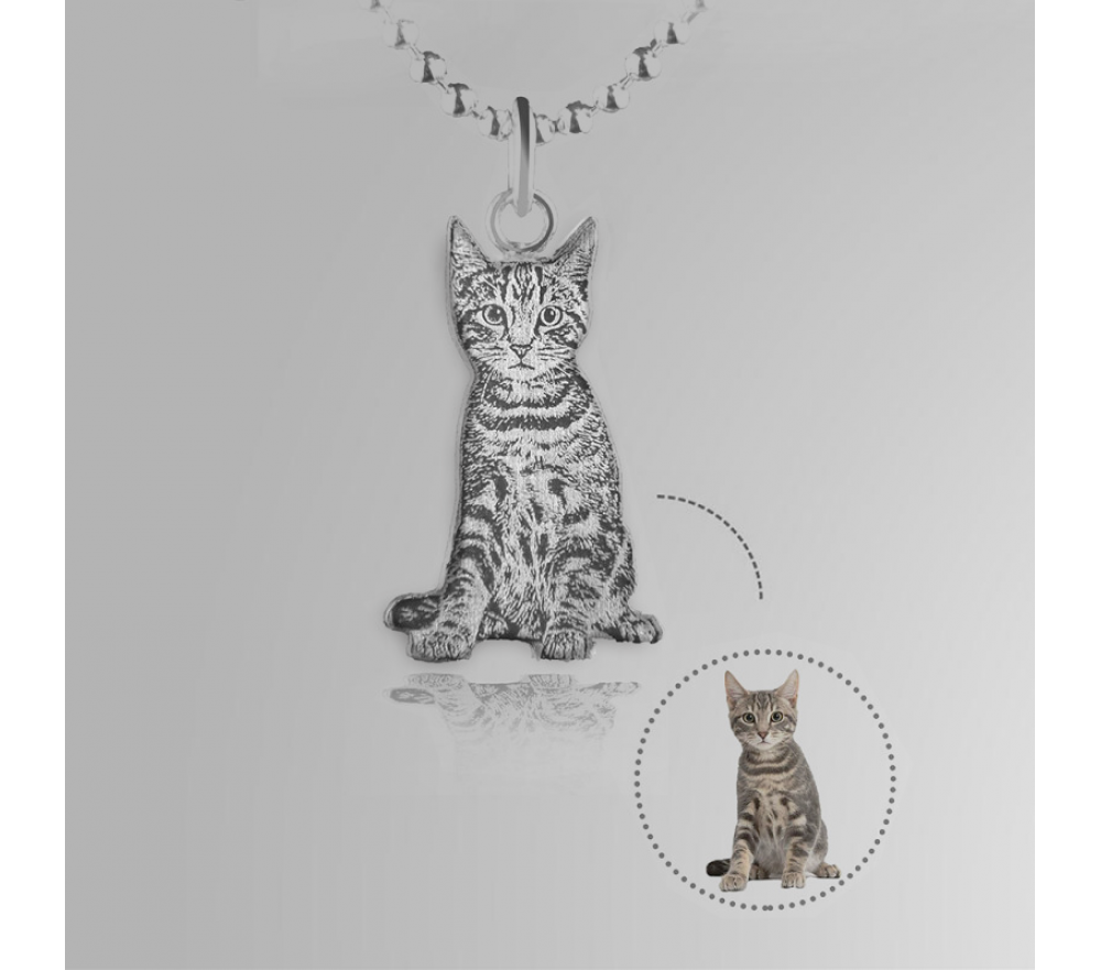 Pet Memorial Jewelry Silver Engraved Custom Picture Necklace