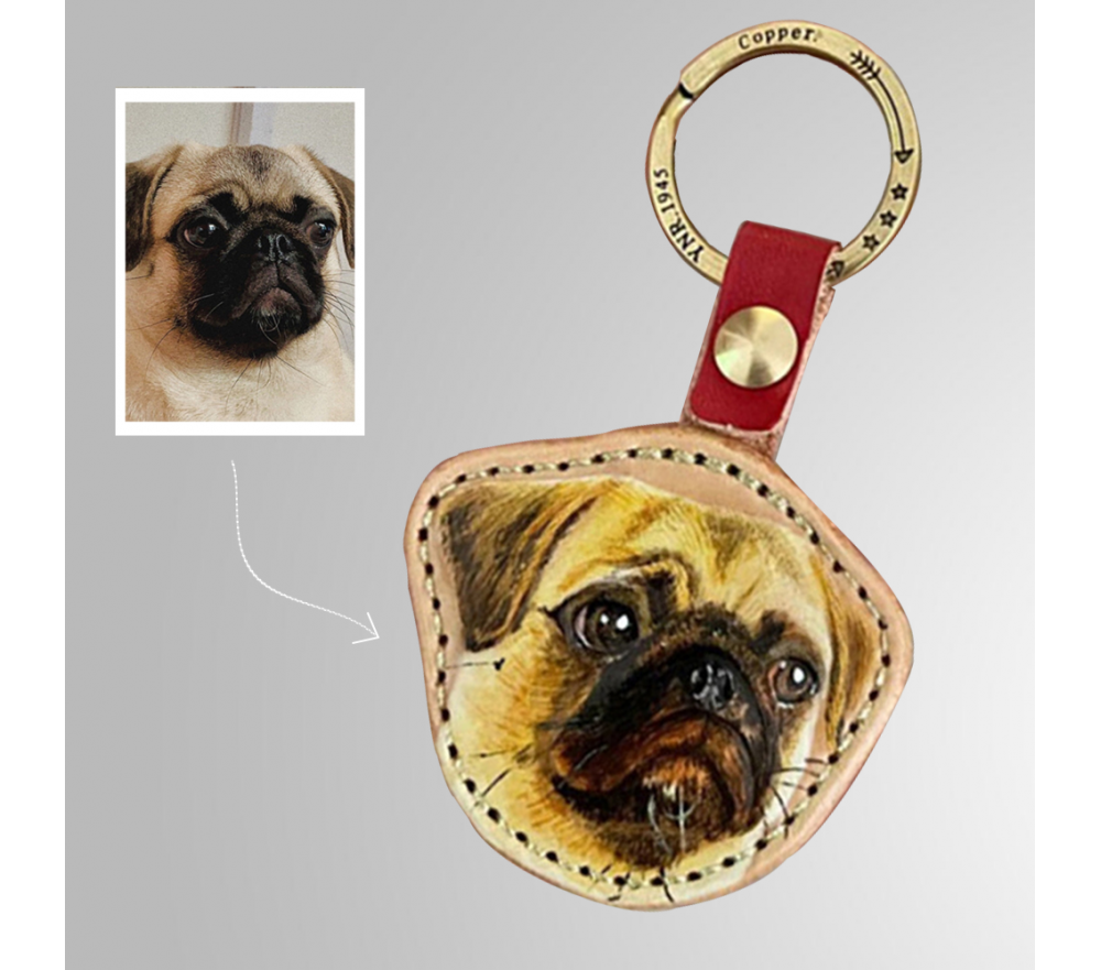 Pet Photo Personalized Leather Keychain Special Sale