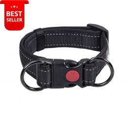 Adjustable Nylon Reflective Dog Collar Black