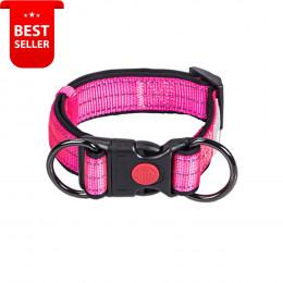 Adjustable Nylon Reflective Dog Collar Pink