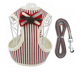 Striped Vest Dog Harness with Leash, 1.4m / 3.9ft