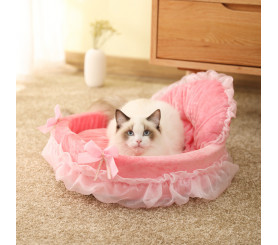 Princess Cat Bed Lace Cute Pink Dog Bed