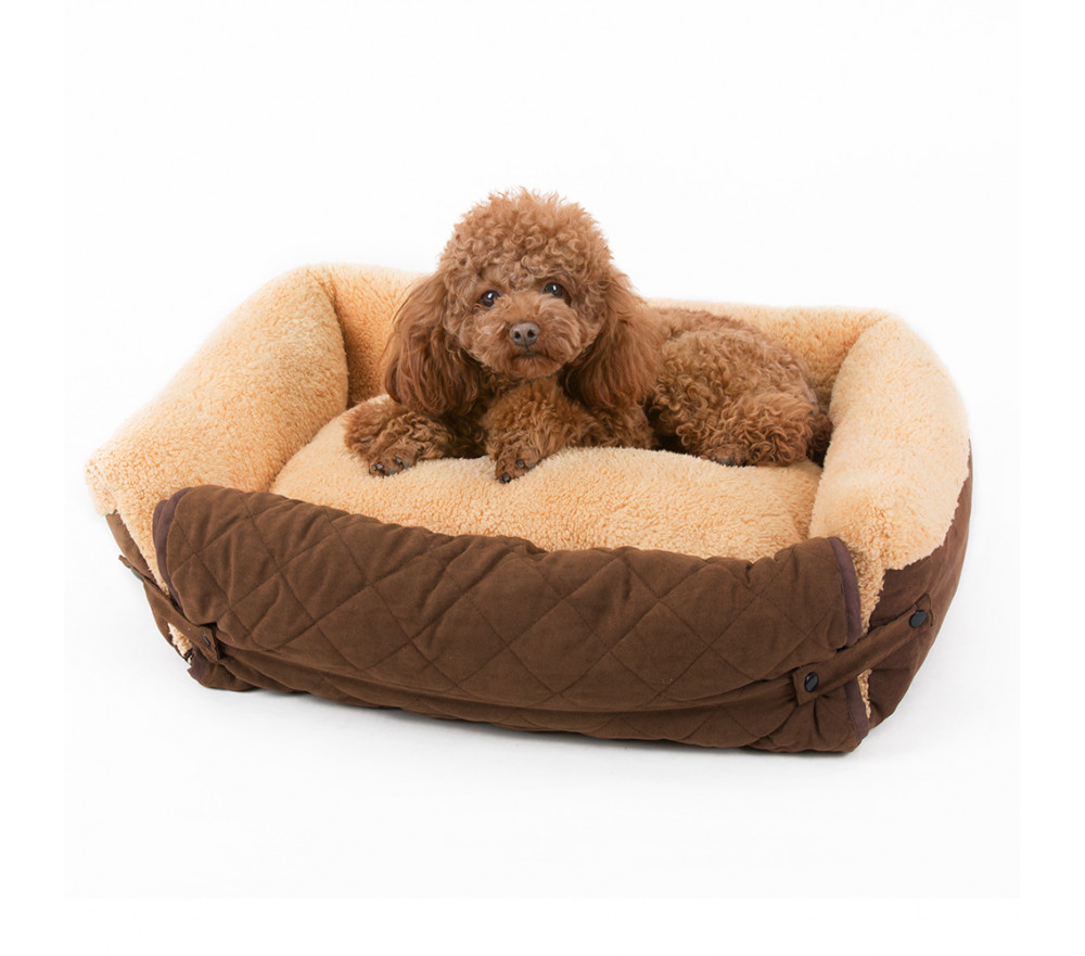 Fold-out Bolster Dog Bed Sofa-style Cuddler Dog Bed for Small Dogs