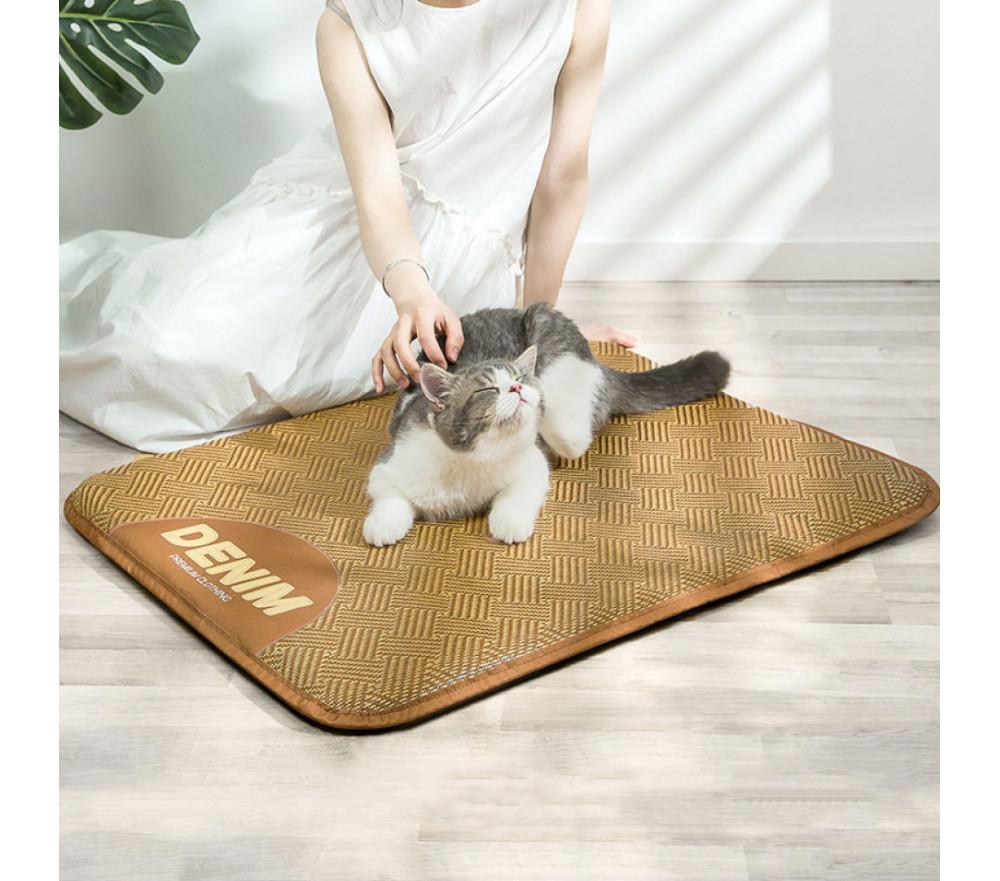 Brown Cool Rattan Mat Summer Pet Cooling Mat for Cats