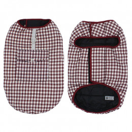 Reversible Plaid Dog Coats for Winter with Harness Access and Pocket Red