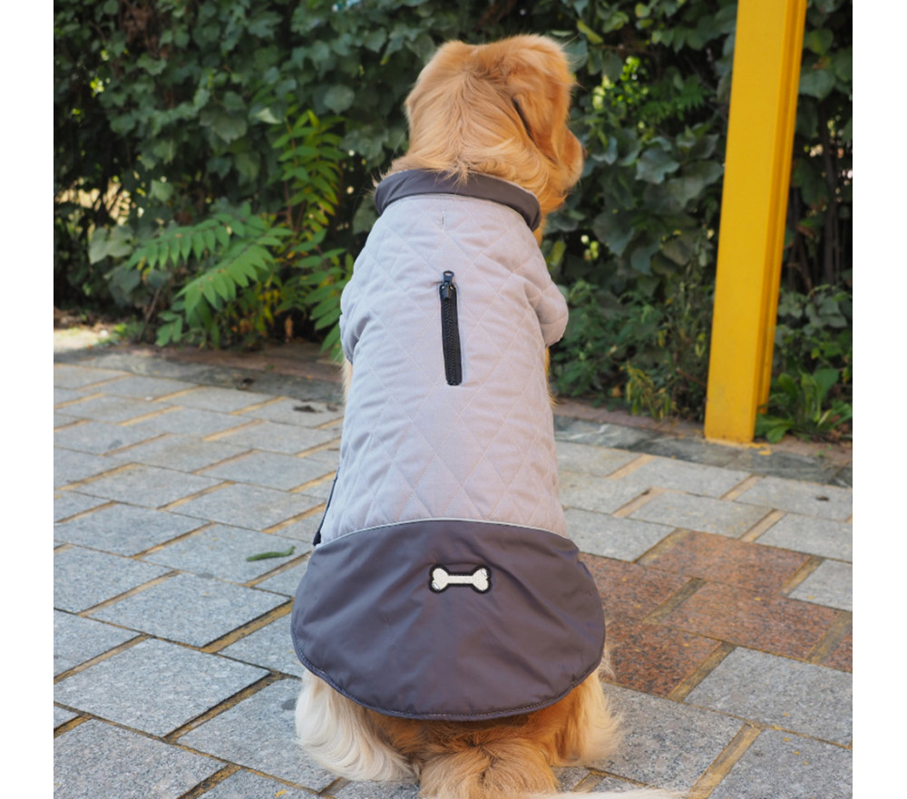 Quilted Reversible Dog Jacket with Harness Access