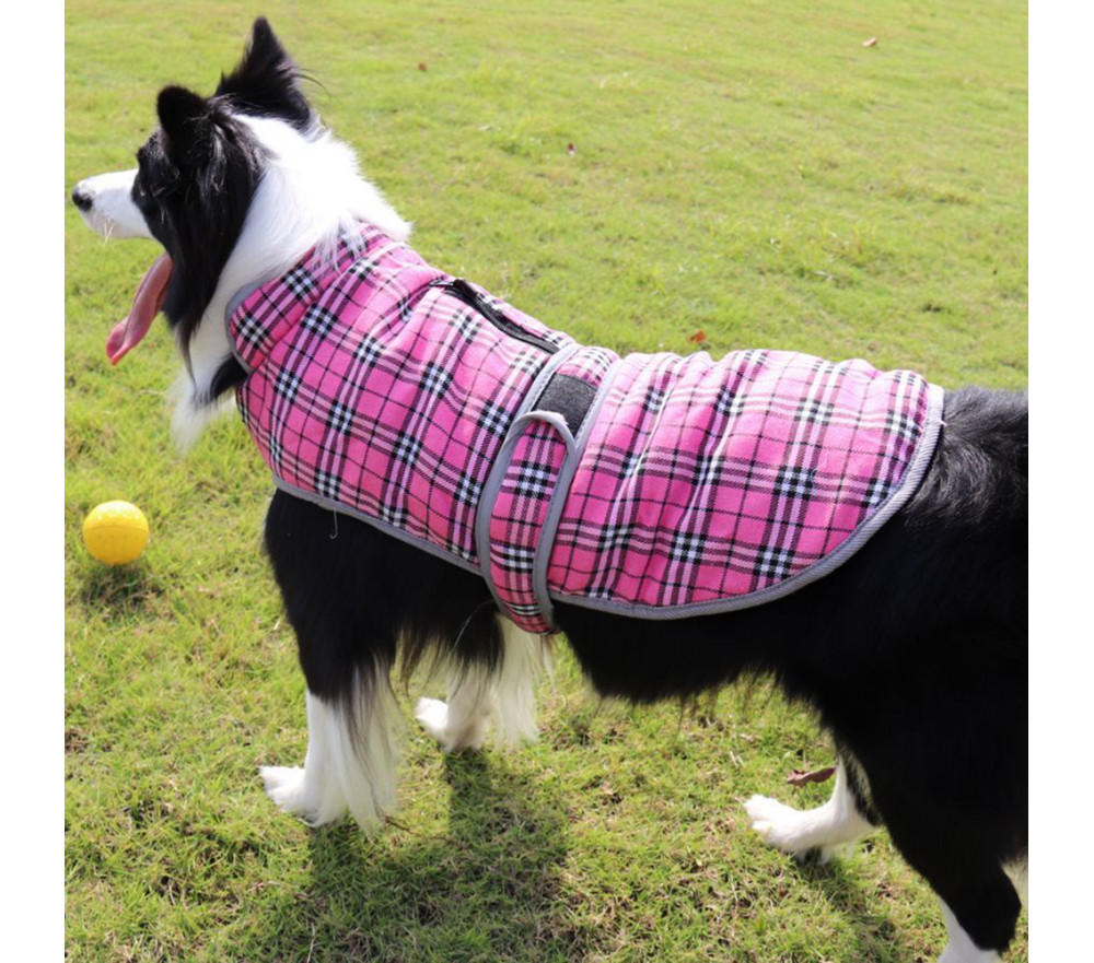 Fleece-lined Winter Dog Coat with Harness Slot