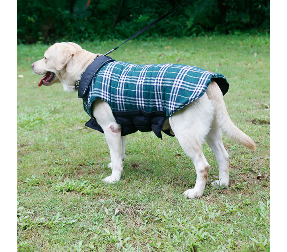 Classic Plaid Reversible Dog Jacket Harness Friendly