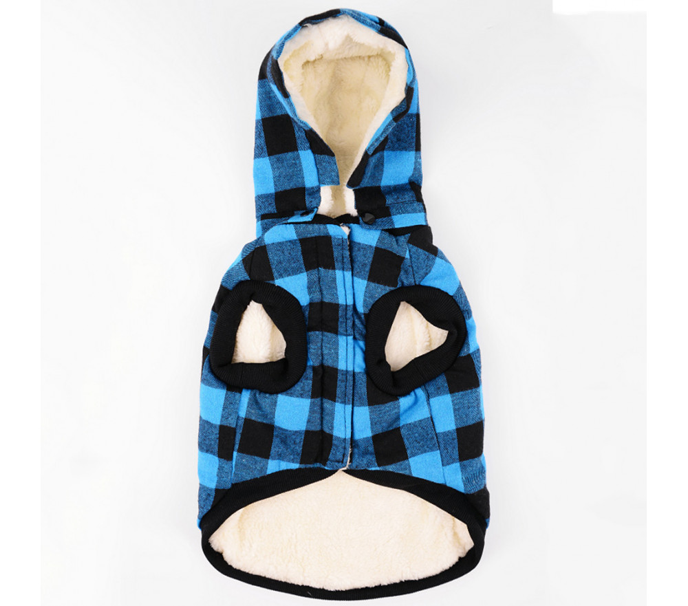 Fleece-lined Plaid Dog Hoodie for Winter