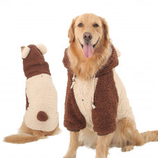 Large Dogs Bear Coat with Hood for Winter