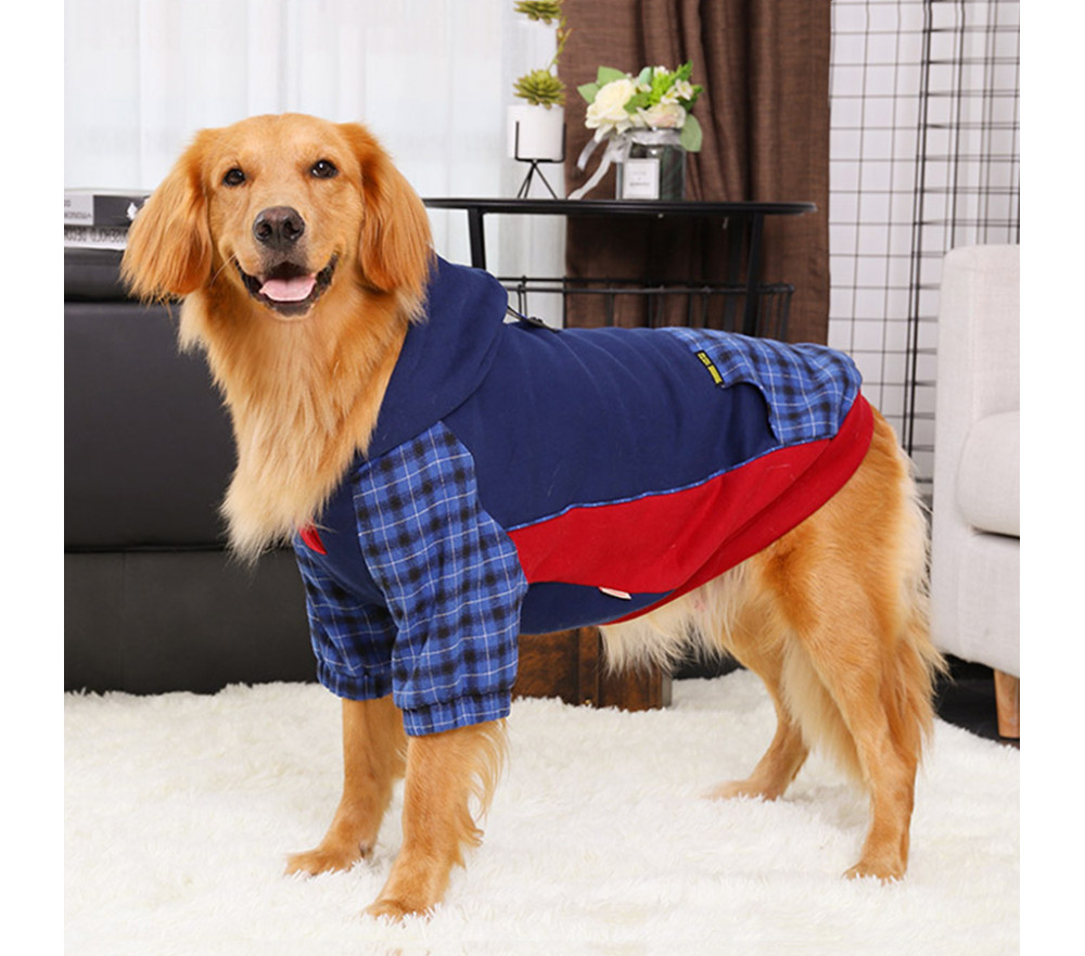 Blue Plaid Hoodie for Large Dogs Winter Coat