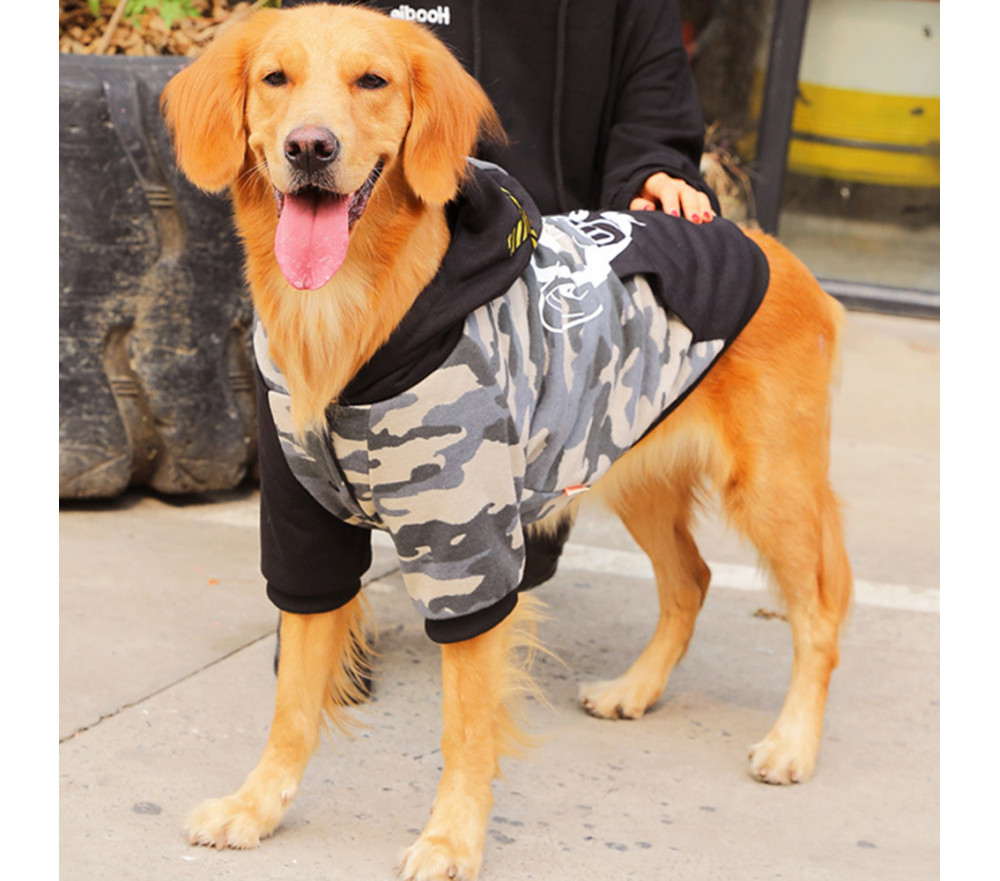 Camouflage Large Dog Winter Coat with Hood