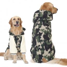 Hoodied Camouflage Faux Fleece Dog Winter Coat