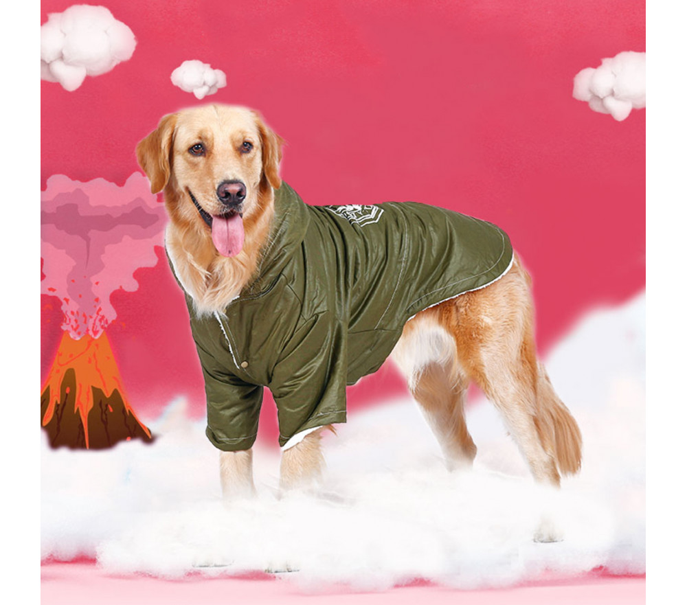 Printed Dog Parka Coat with Hood Fleece-lined