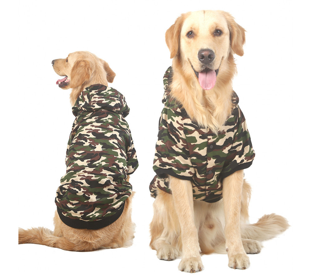 Hoodied Camouflage Dog Winter Coat