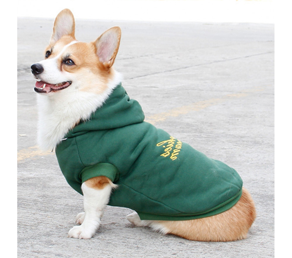 Embroidered Fleece Dog Coat with Hoodie