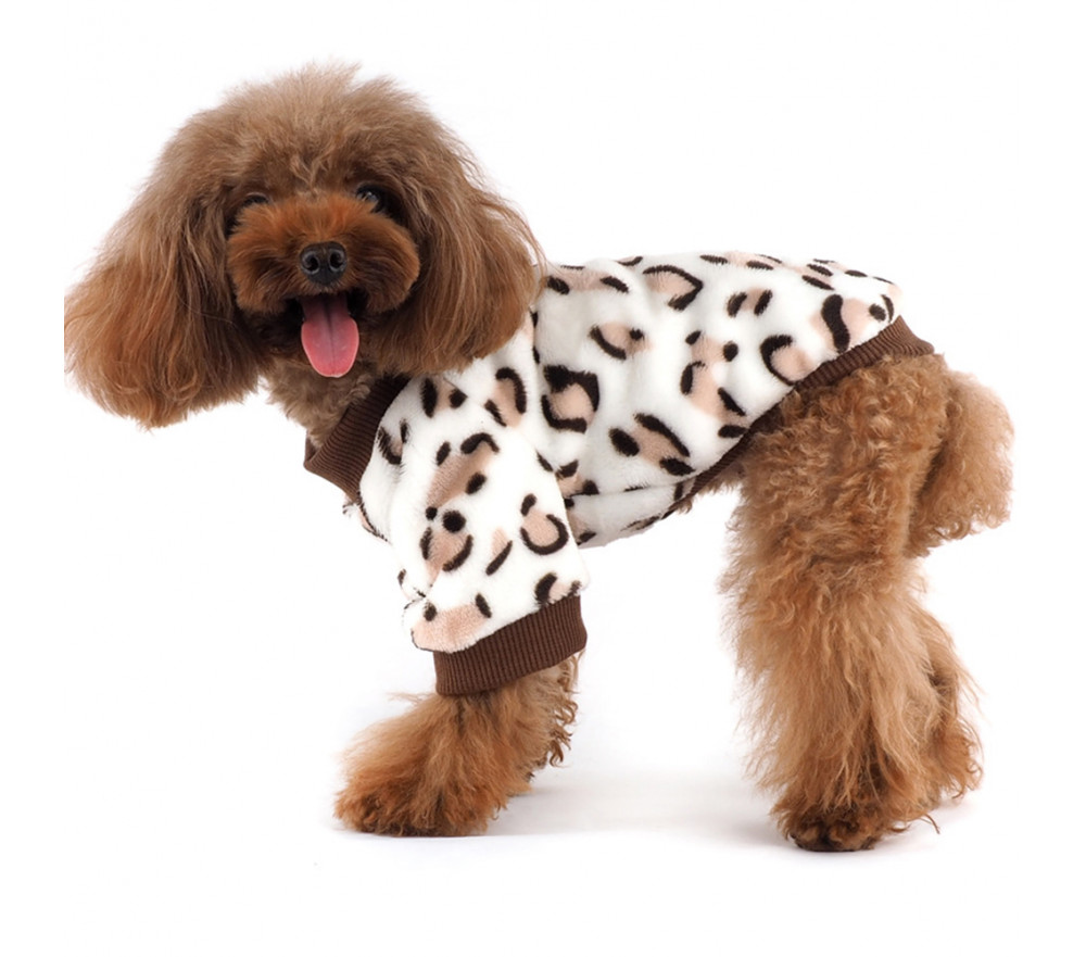 Leopard Fleece Dog Coats for Small Dogs