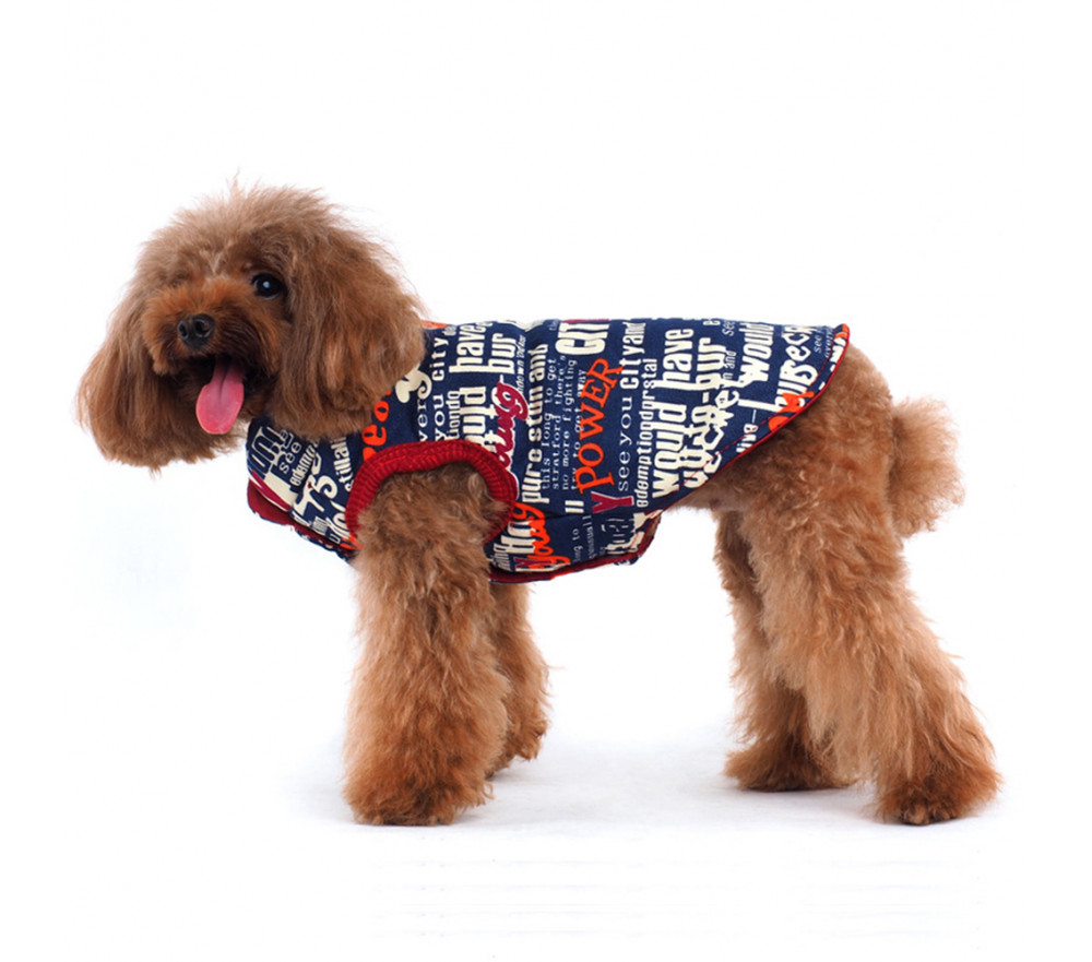 Printed Dog Puffer Jacket Quilted Coats for Small Dogs