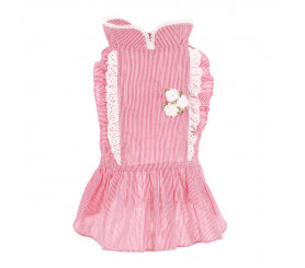 Striped Flower Dress for Small Dogs