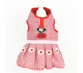 Cherry Dog Dress with Harness Access