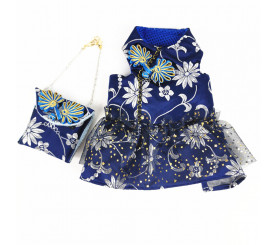 Embroidery Lace Dress with Bag for Small Dogs
