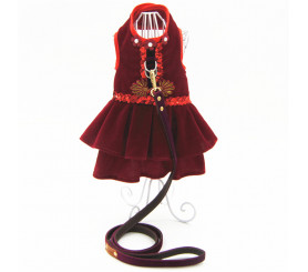 Red Wine Small Dog Dress Harness Leash Set