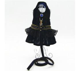 Dark Blue Lace Dog Dress Harness Leash Set