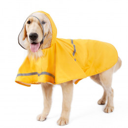 Yellow Dog Raincoat With Hood Small Dog Rain Jacket