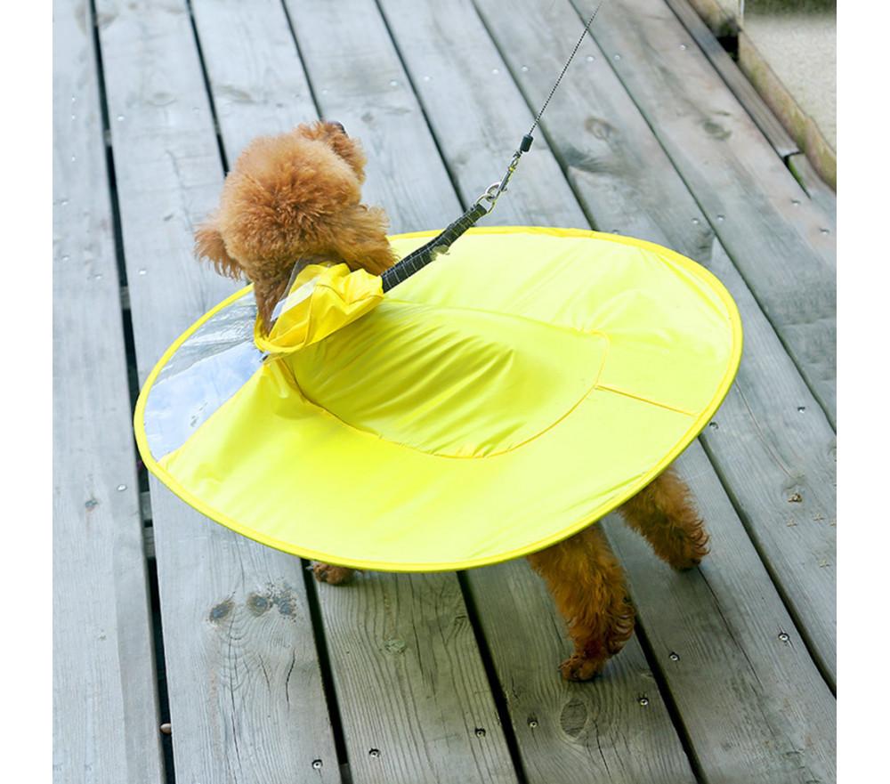 Yellow Dog Raincoat UFO Small Dog Rain Jacket With Hood