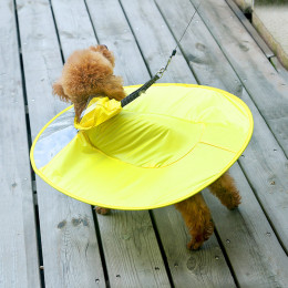 Yellow Dog Raincoat UFO Small Dog Rain Jacket With Hood