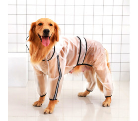 Clear Dog Raincoat with Hood and Legs
