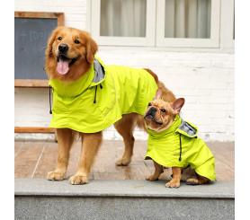 Dog Rain Poncho with Hood Detachable