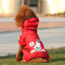 Dog Raincoat with Hood and Legs Harness Clip