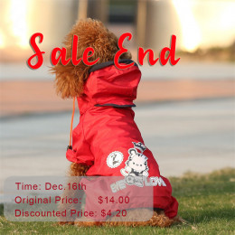 Small Dog Raincoat With Hood Waterproof Dog Coat Flash Sale