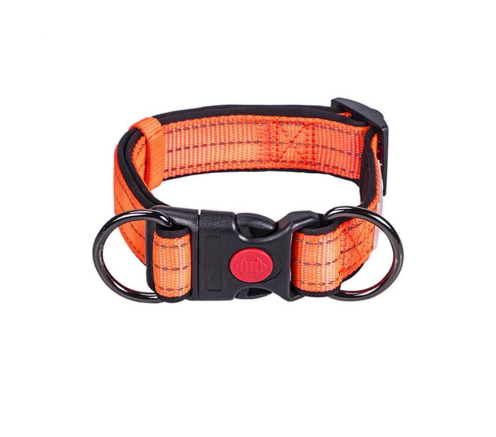 Adjustable Nylon Reflective Dog Collar Orange