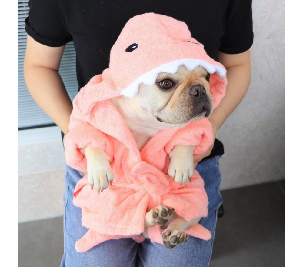 Dog Bathrobe Hooded Bath Towel Drying Shark Robe